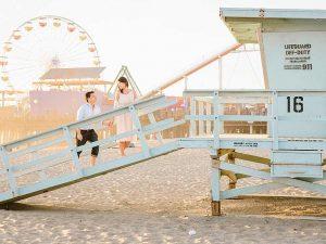 Couple on lifeguard tower, Santa Monica Beach