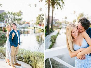 Couple in front of Venice Canals in Venice, CA