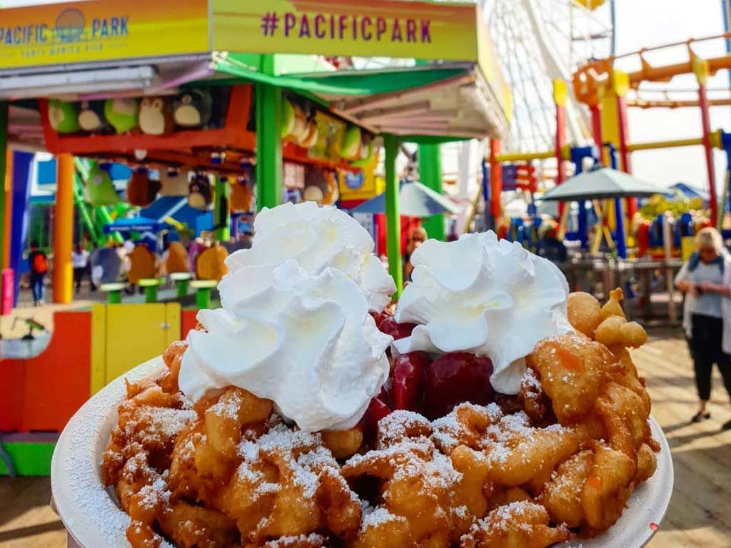 Funnel cake with scoop of ice cream