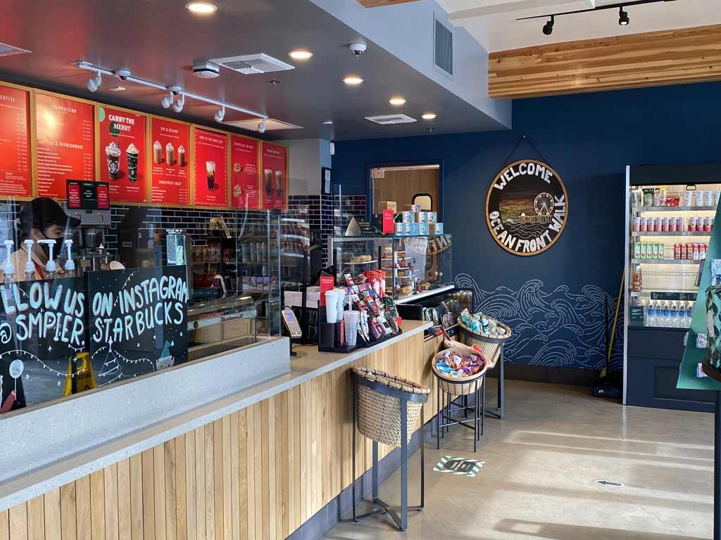 Inside Starbucks store on Ocean Front Walk