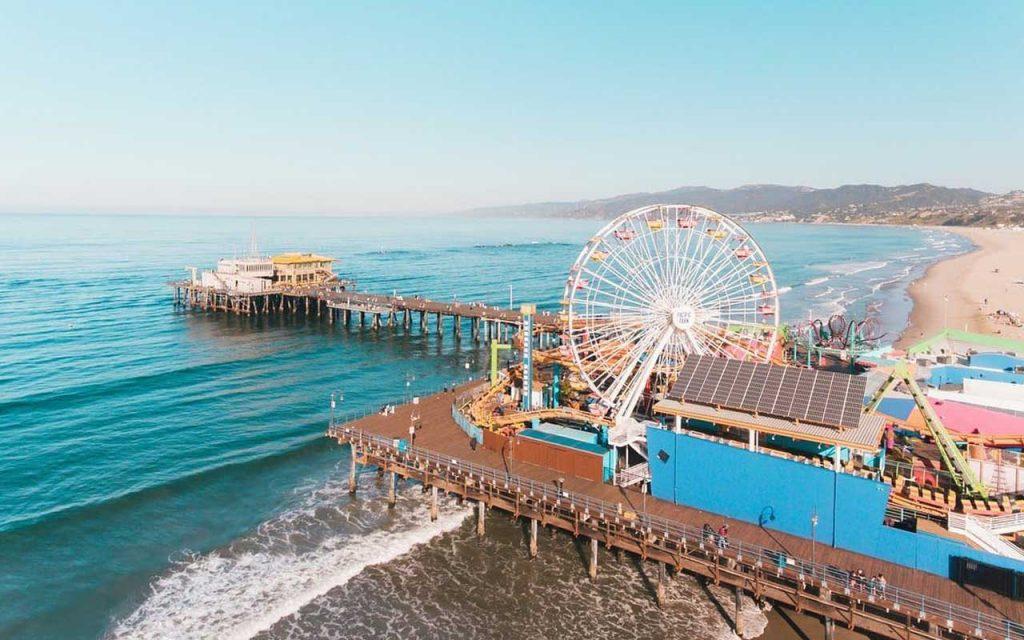 Aerial shot of Santa Monica Pier rides