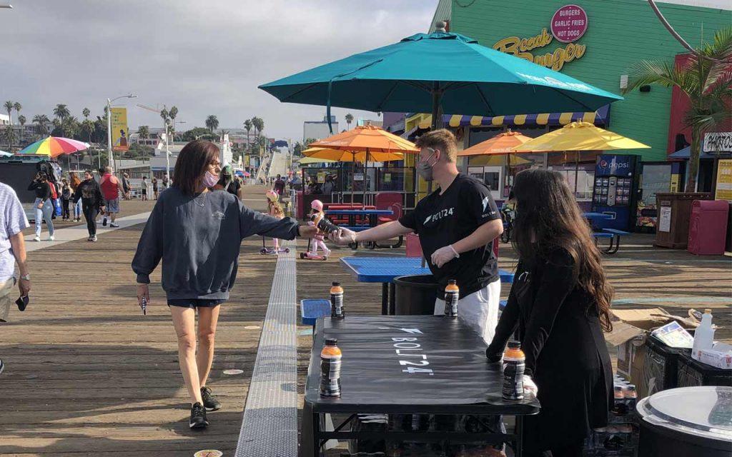 Bolt24 energy drink sampling on the Santa Monica Pier