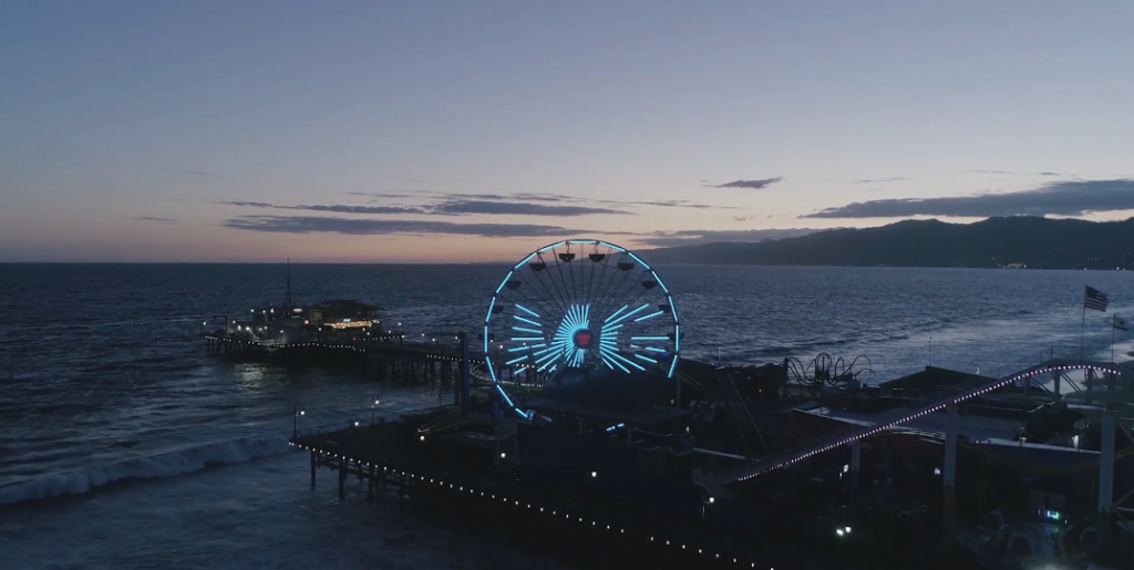MG Awareness Ferris wheel lighting at the Santa Monica Pier