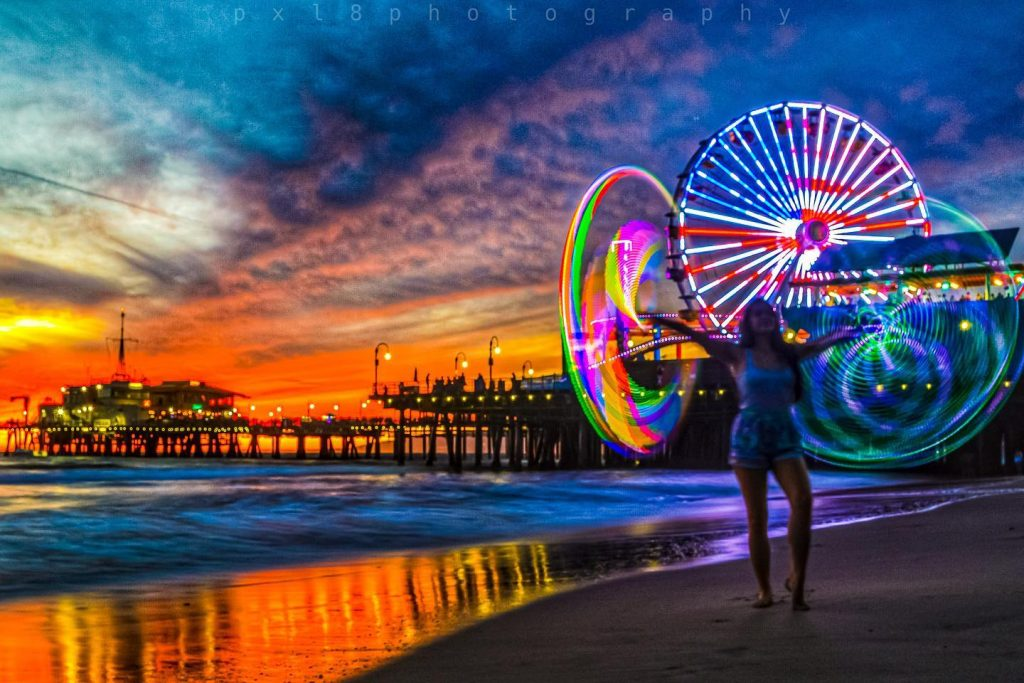 Independence Day Ferris Wheel Lighting at the Santa Monica Pier | Photo by @pxl8photography