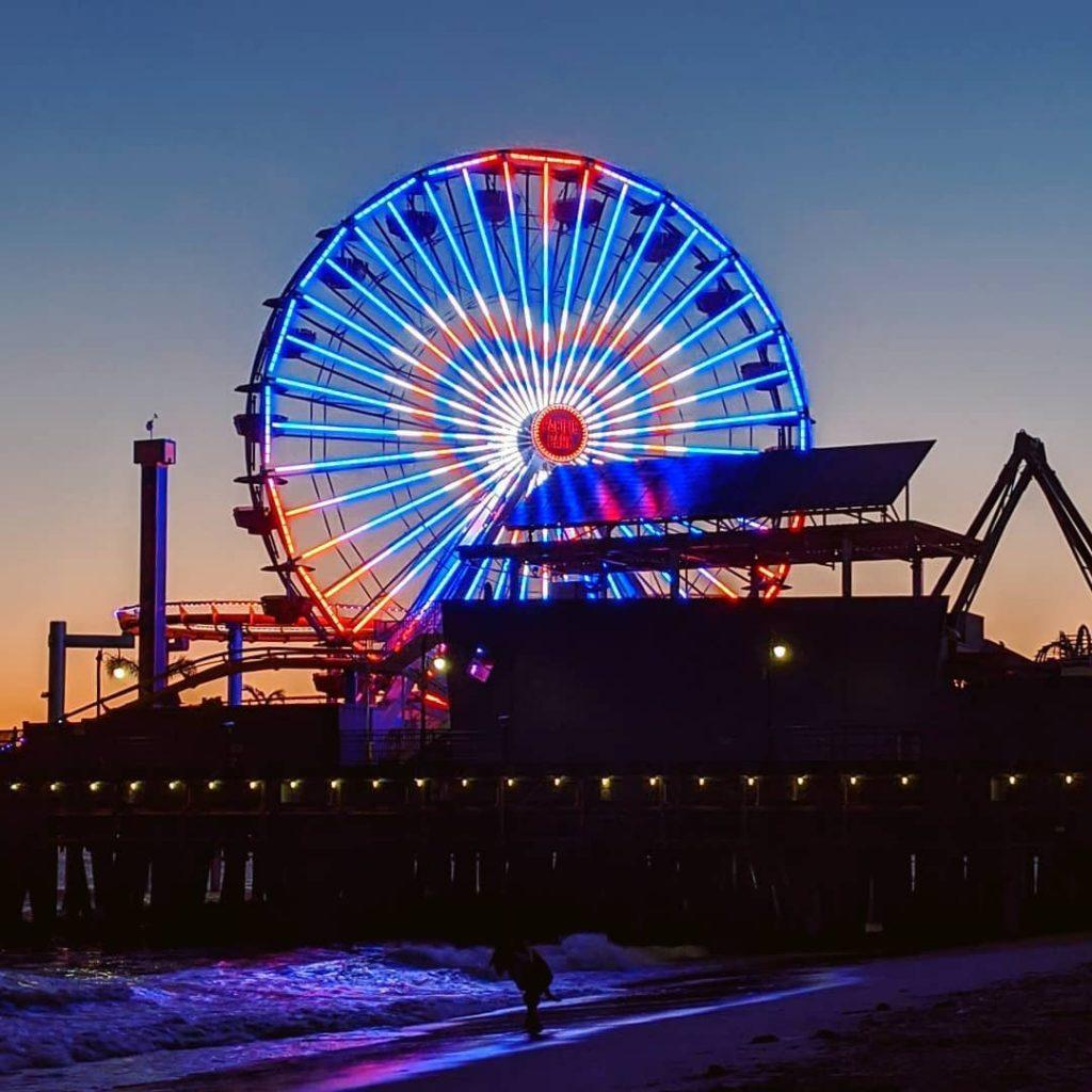 Juneteenth Ferris wheel lighting at the Santa Monica Pier