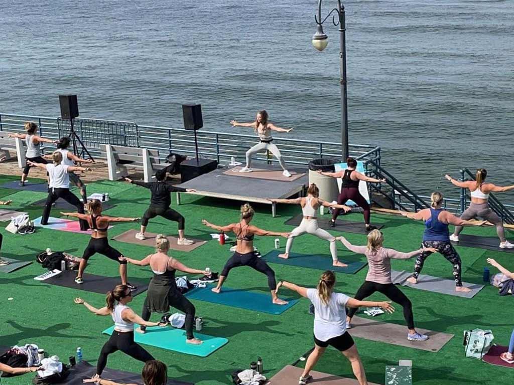 Workout class on Santa Monica Pier