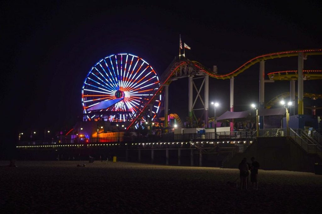 The US Flag displayed in lights on the Pacific Wheel in Santa Moncia for Labor Day | Photo by @alexc43