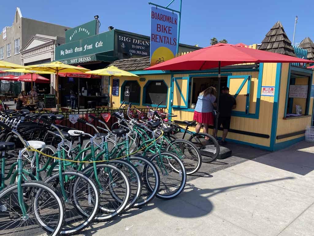 Bicycles outside Boardwalk Bike Rentals in Santa Monica