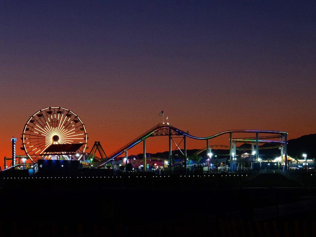 Halloween lights on the Santa Monica Pier Ferris wheel